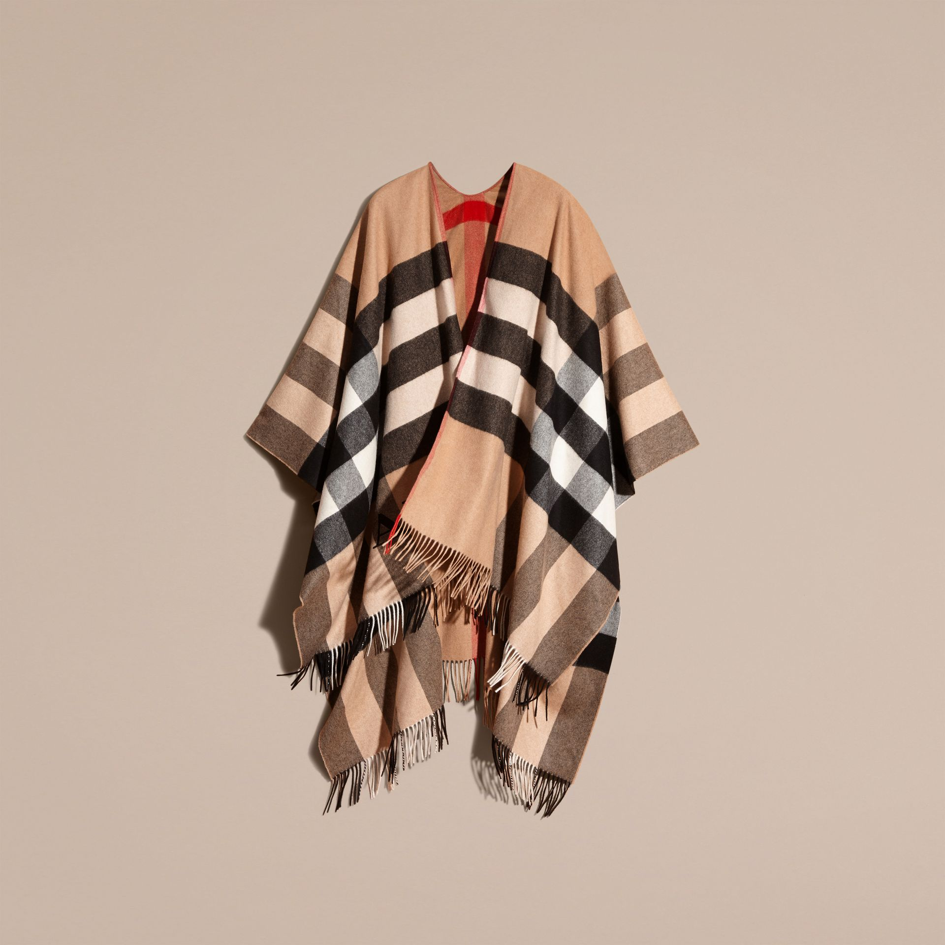 Camel Check Cashmere Poncho - gallery image 4