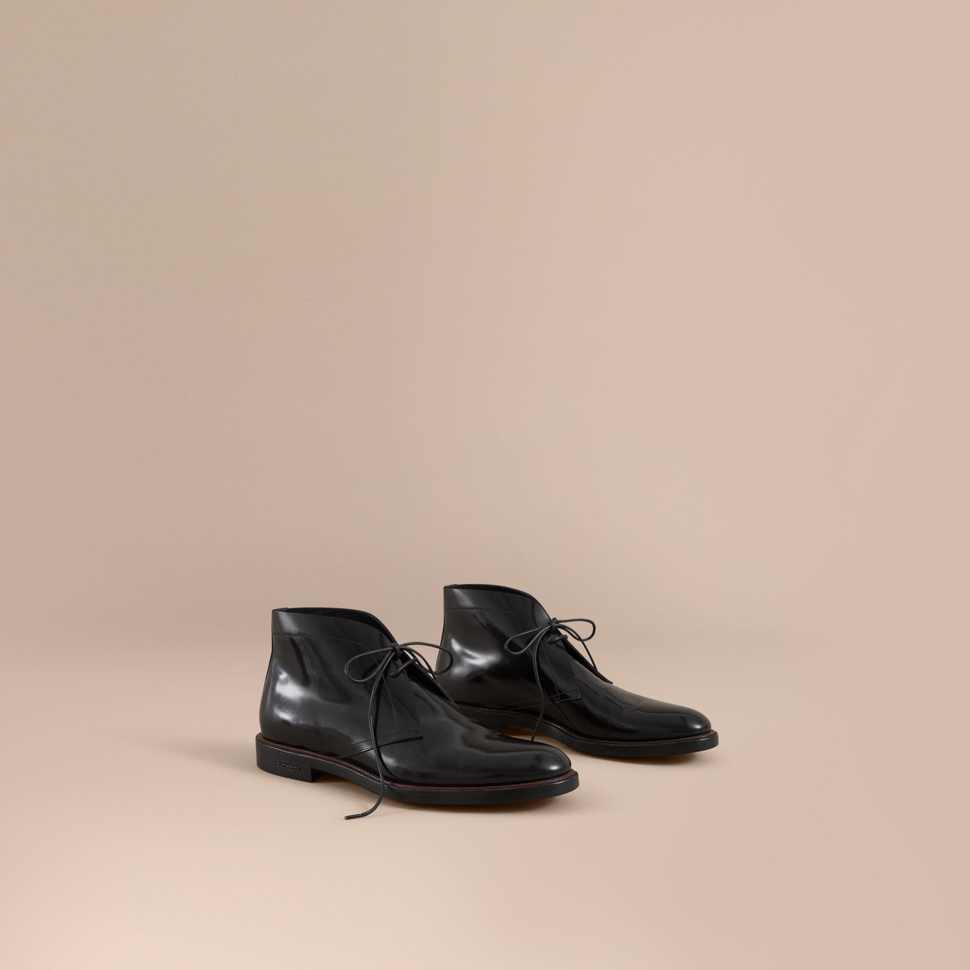 Polished Leather Desert Boots in Black - Men | Burberry - gallery image 0