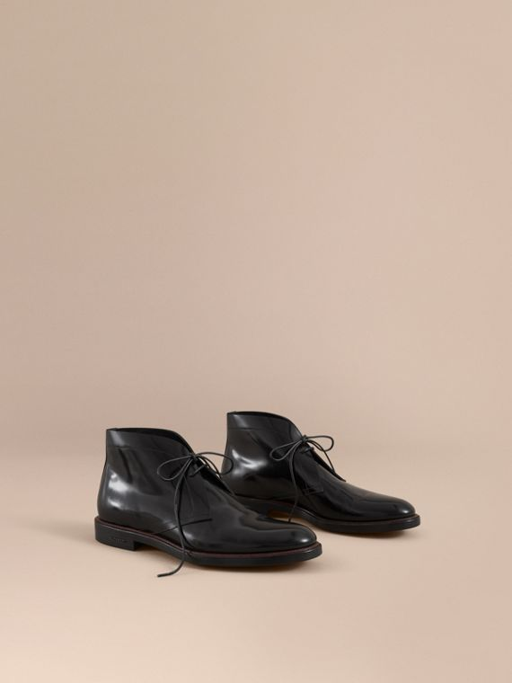 Polished Leather Desert Boots in Black