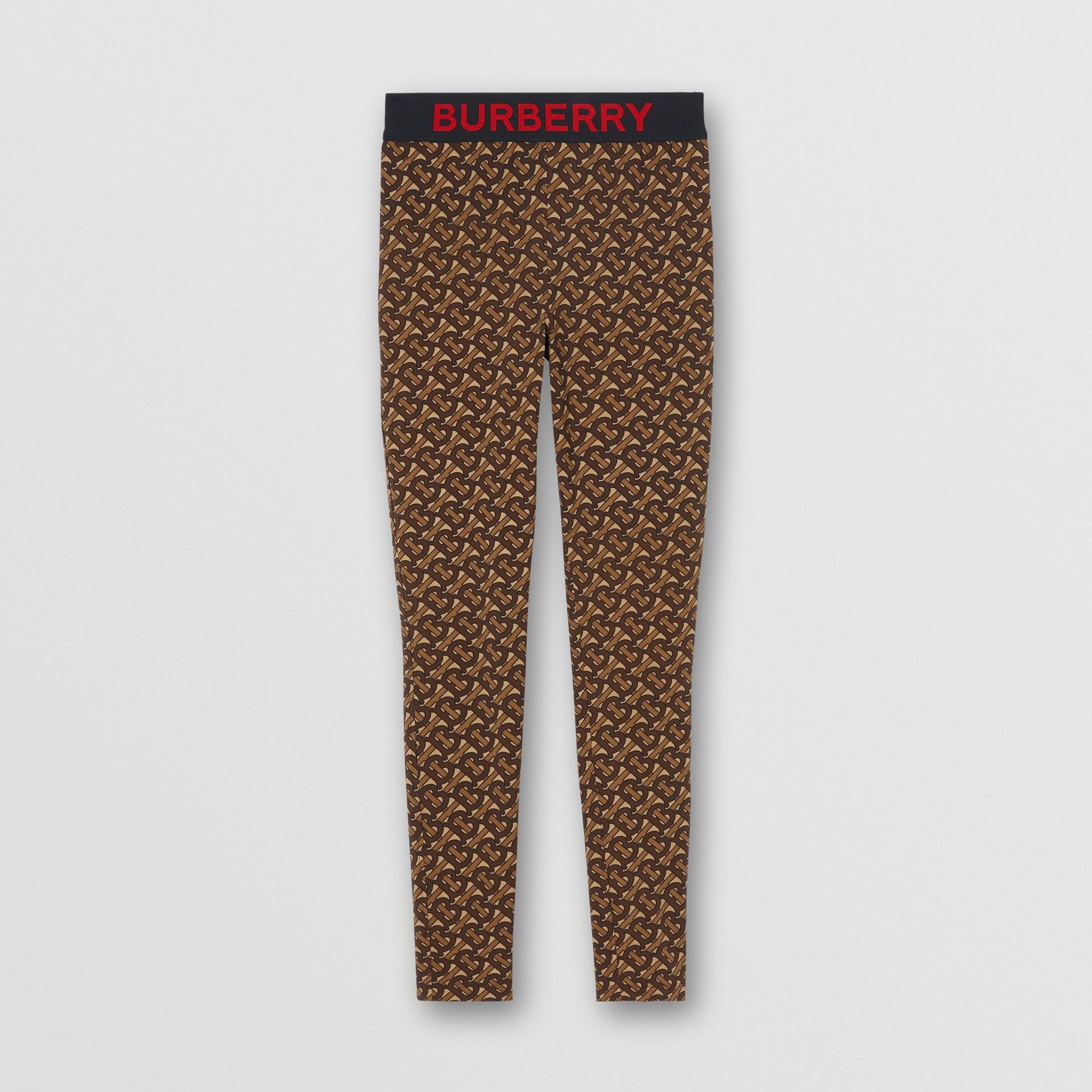 Leggings de malha stretch com estampa de monograma (Castanho Couro) - Mulheres | Burberry - galeria de imagens 3