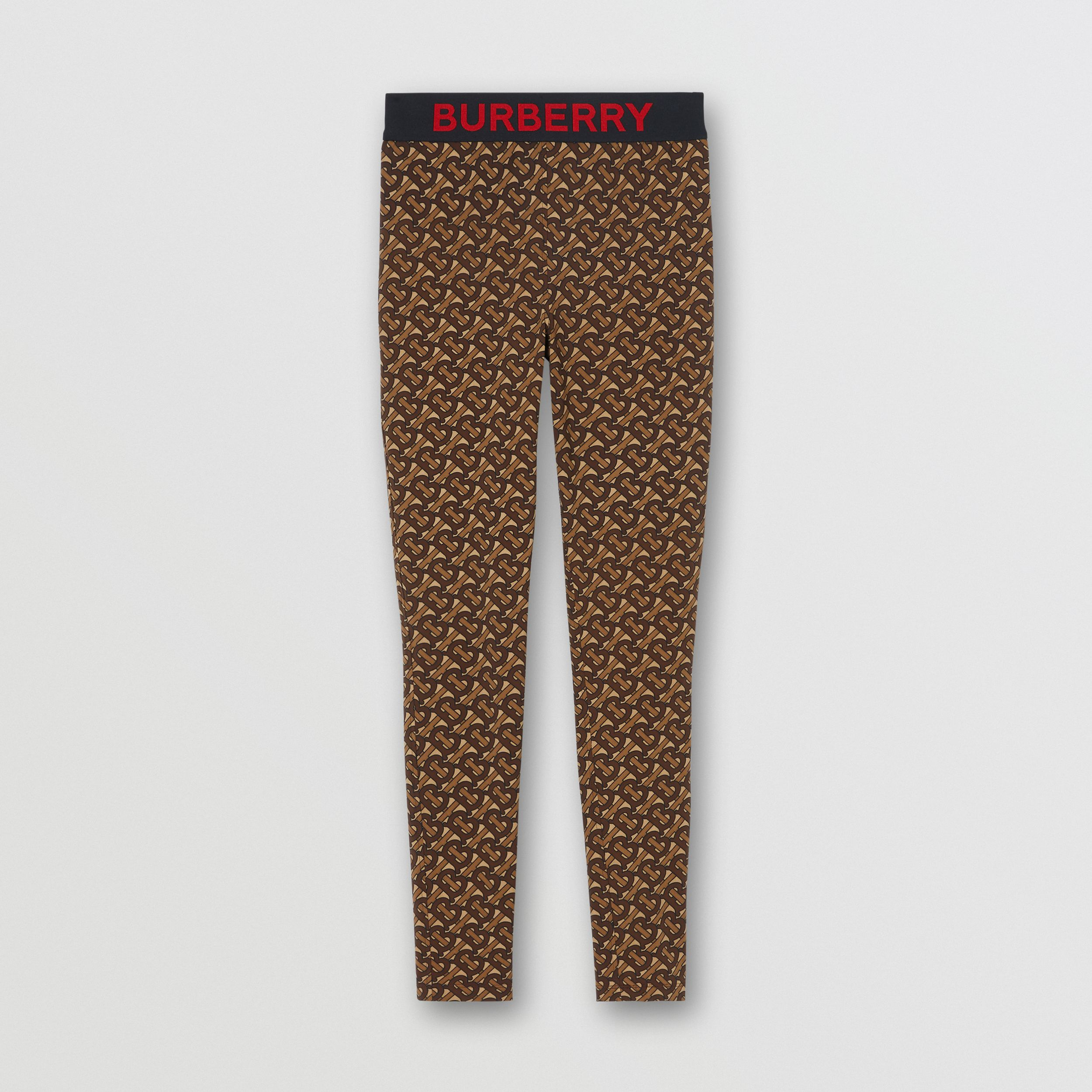Monogram Print Stretch Jersey Leggings in Bridle Brown - Women | Burberry - 4