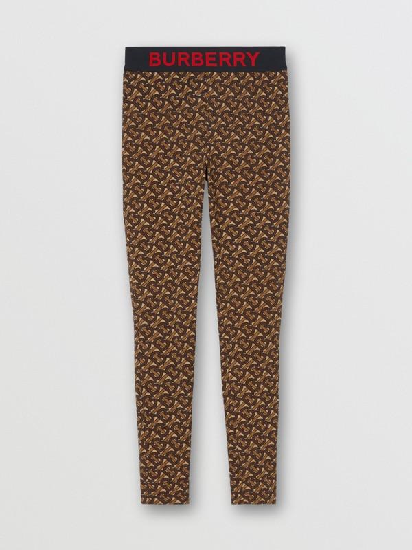 Leggings de malha stretch com estampa de monograma (Castanho Couro) - Mulheres | Burberry - cell image 3
