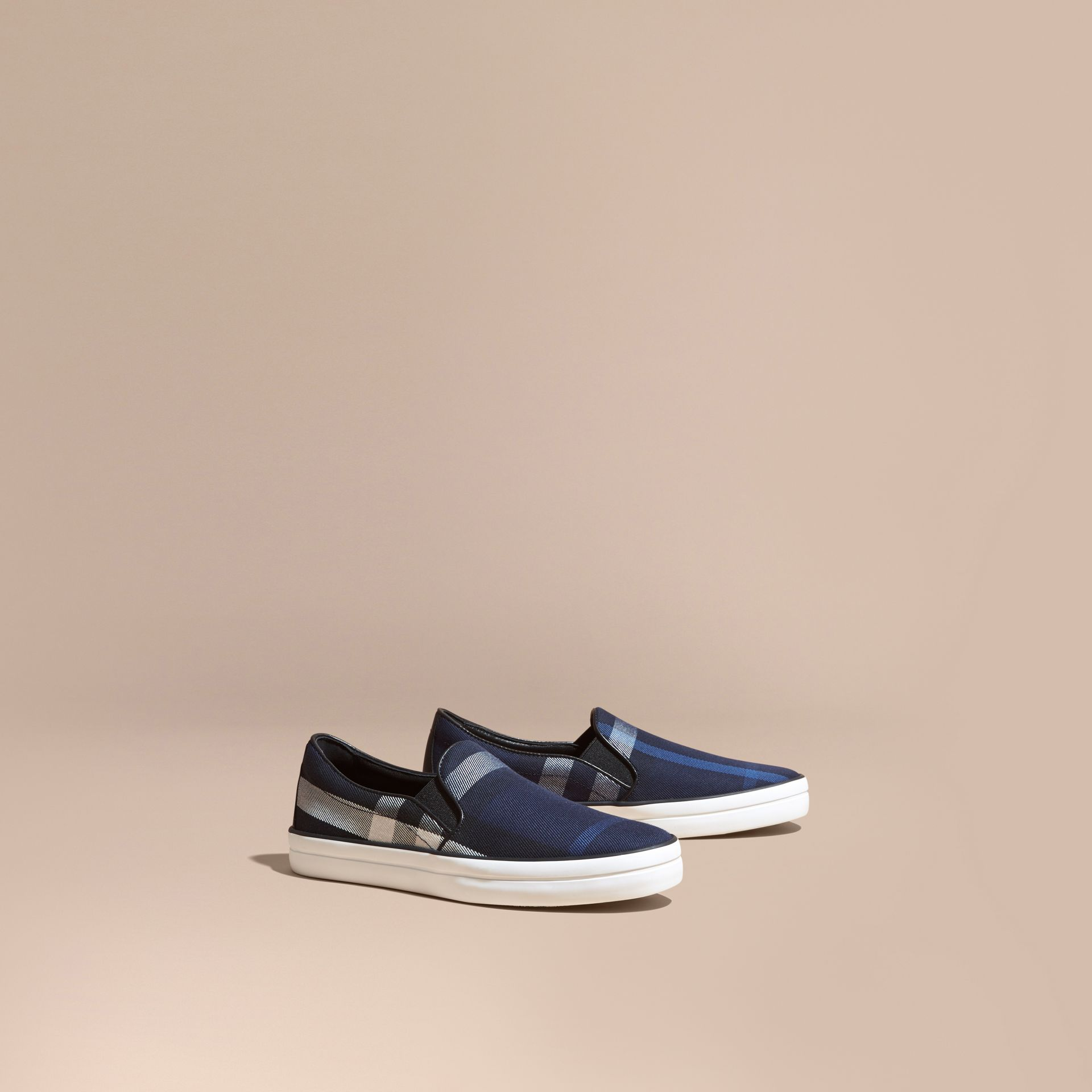Overdyed House Check Cotton Slip-on Trainers in Indigo Blue - Women | Burberry - gallery image 1