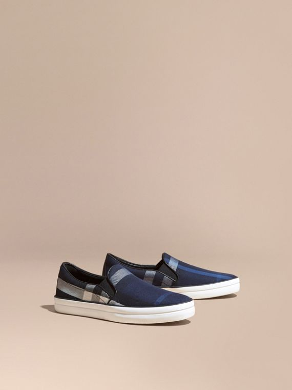 Overdyed House Check Cotton Slip-on Trainers Indigo Blue