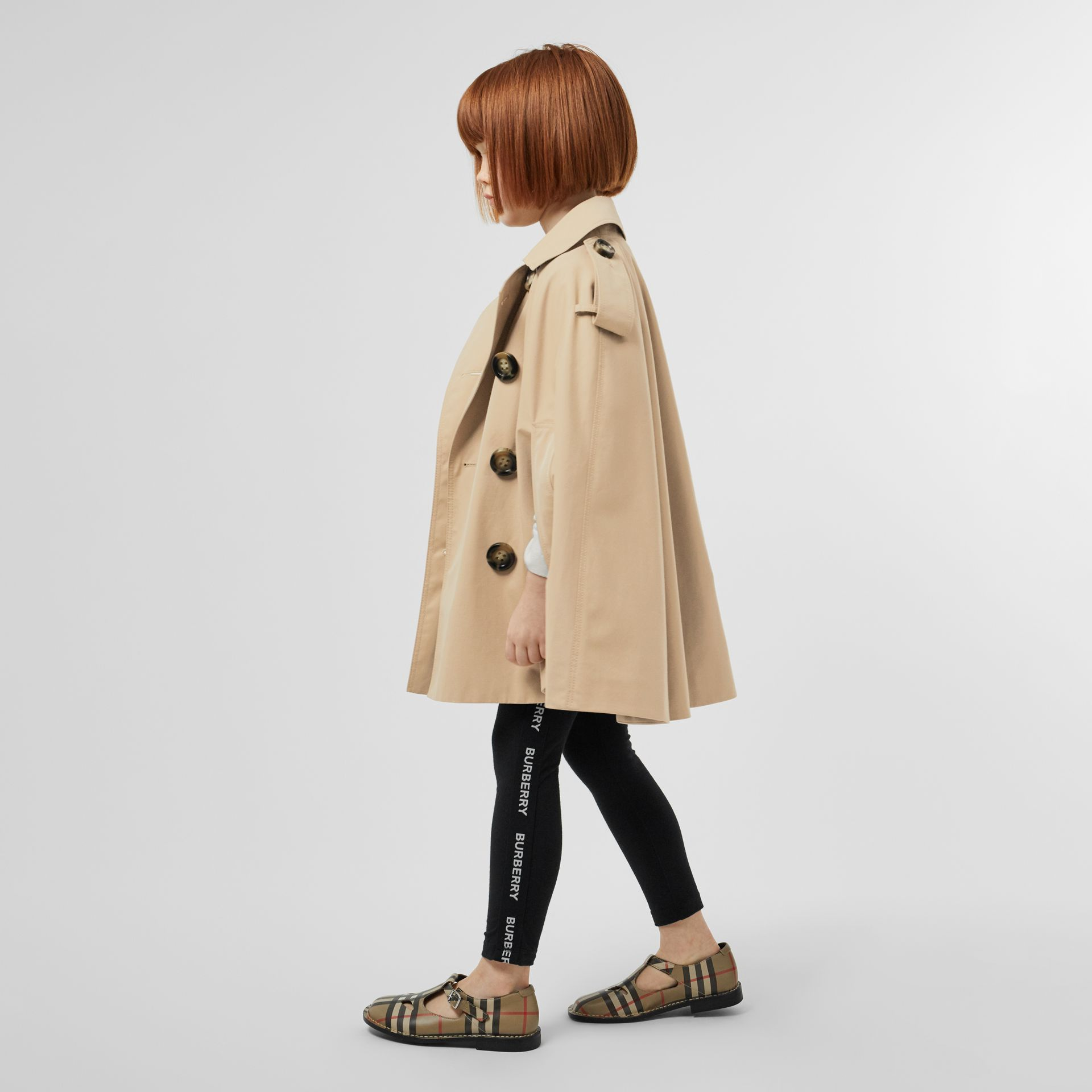 Cotton Gabardine Trench Cape in Honey | Burberry - gallery image 2