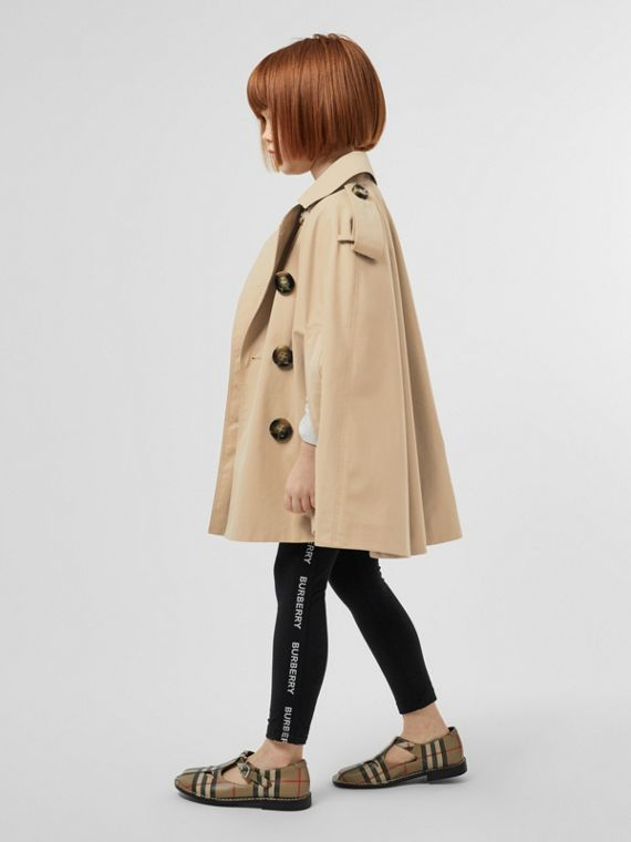 Cotton Gabardine Trench Cape in Honey