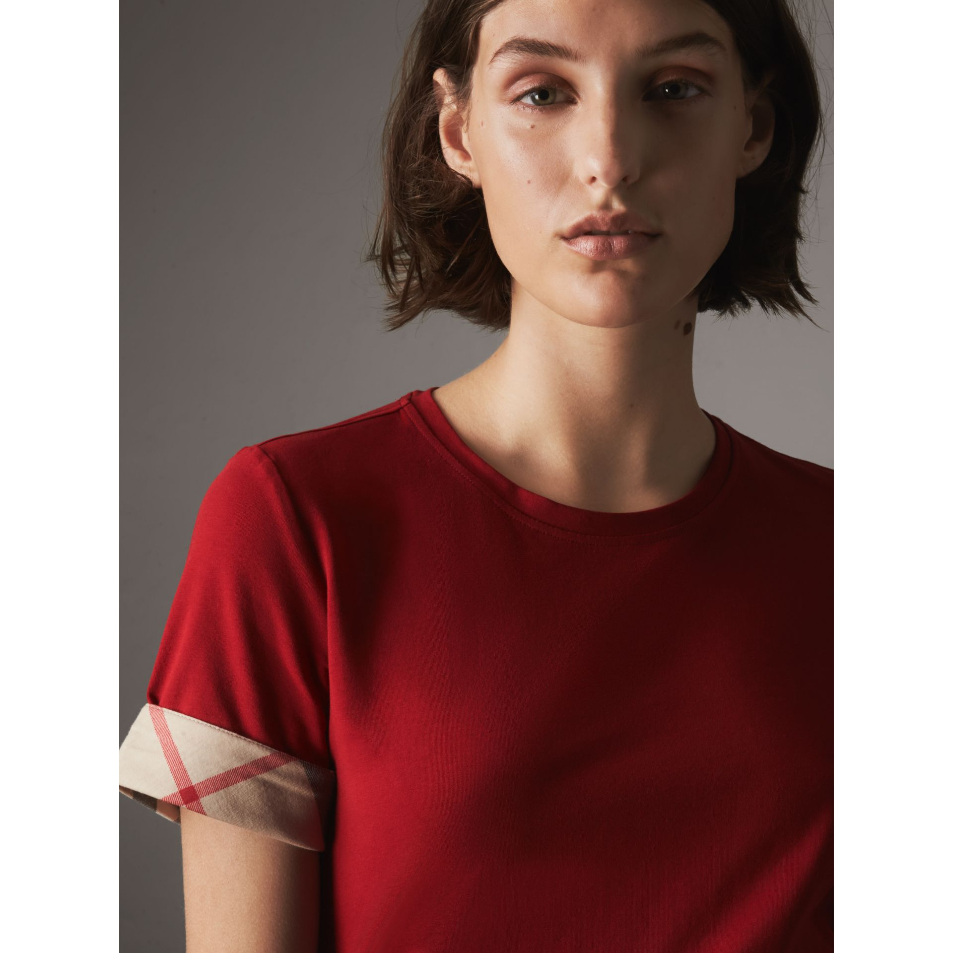 Check Cuff Stretch Cotton T-Shirt in Lacquer Red - Women | Burberry - gallery image 1
