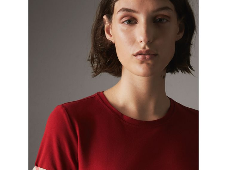 Check Cuff Stretch Cotton T-Shirt in Lacquer Red - Women | Burberry - cell image 1