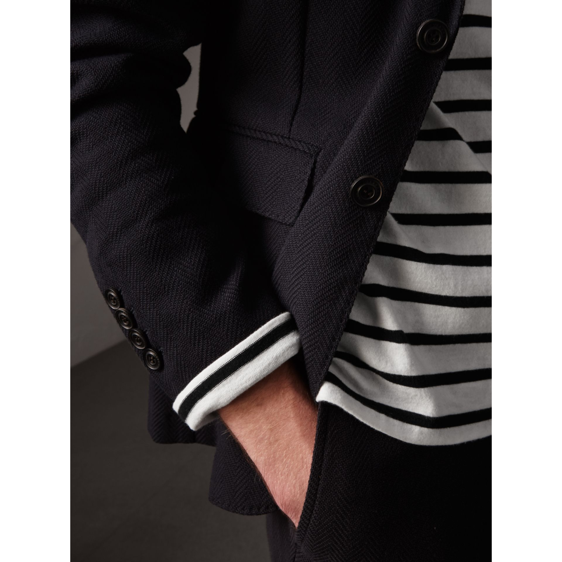 Soho Fit Herringbone Cotton Blend Jacket in Navy - Men | Burberry Singapore - gallery image 1