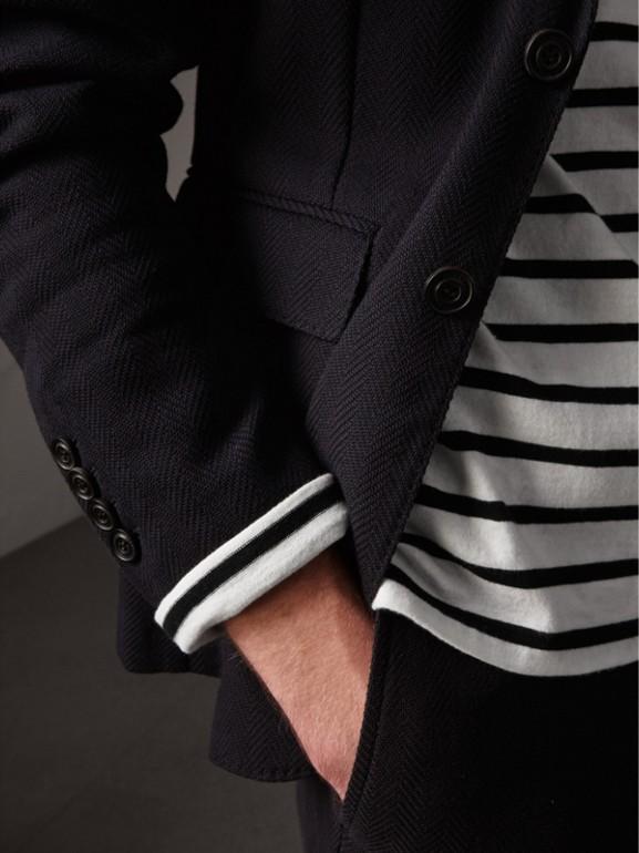 Soho Fit Herringbone Cotton Blend Jacket in Navy - Men | Burberry United Kingdom - cell image 1