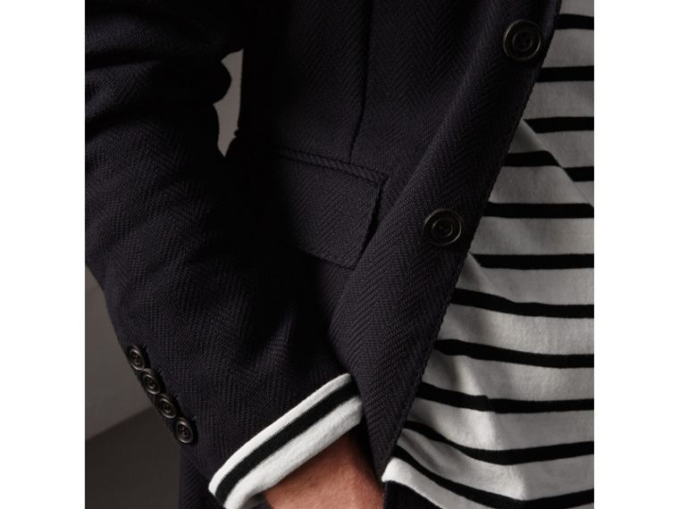 Soho Fit Herringbone Cotton Blend Jacket in Navy - Men | Burberry - cell image 1
