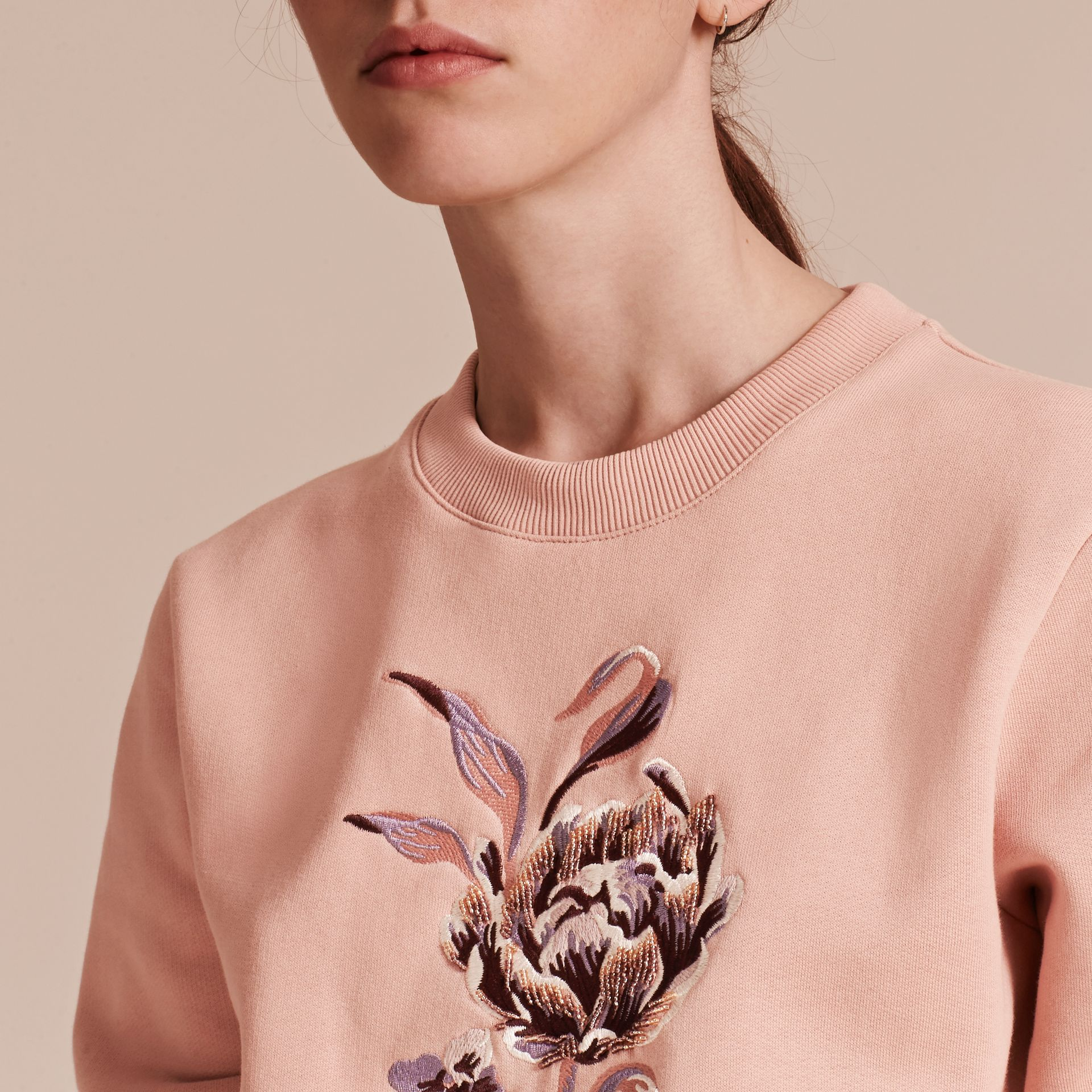 Embroidered Floral Motif Cotton Blend Sweatshirt Ash Rose - gallery image 5