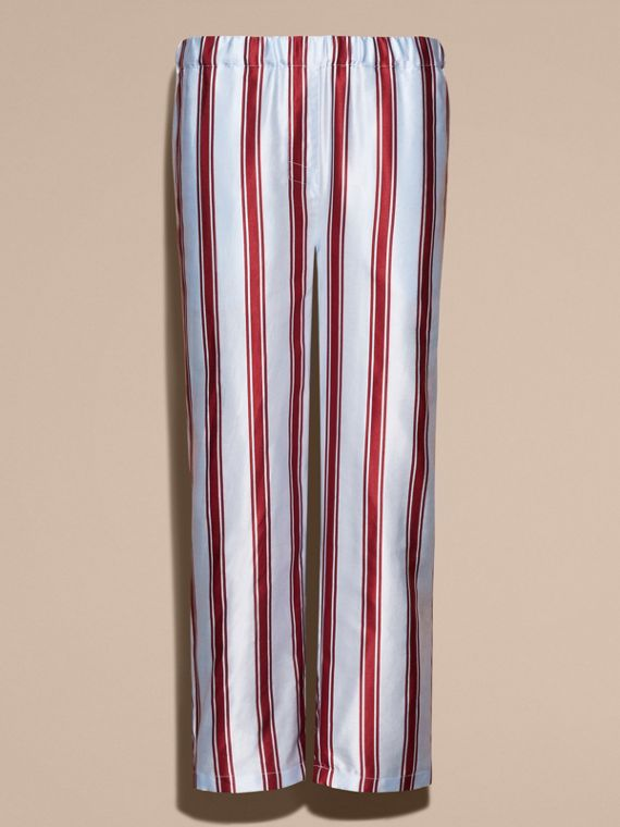 Light blue Panama Stripe Cropped Cotton Silk Satin Pyjama-style Trousers - cell image 3