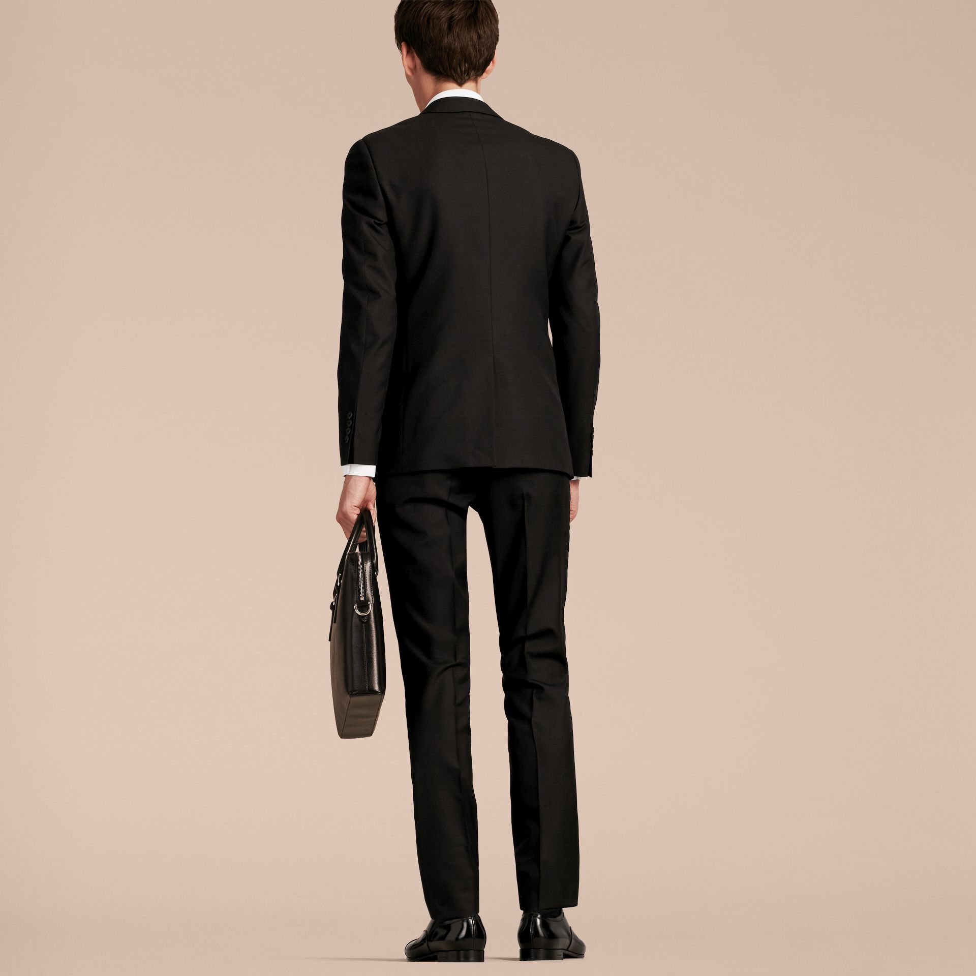 Slim Fit Wool Part-canvas Suit in Black - Men | Burberry Canada - gallery image 3