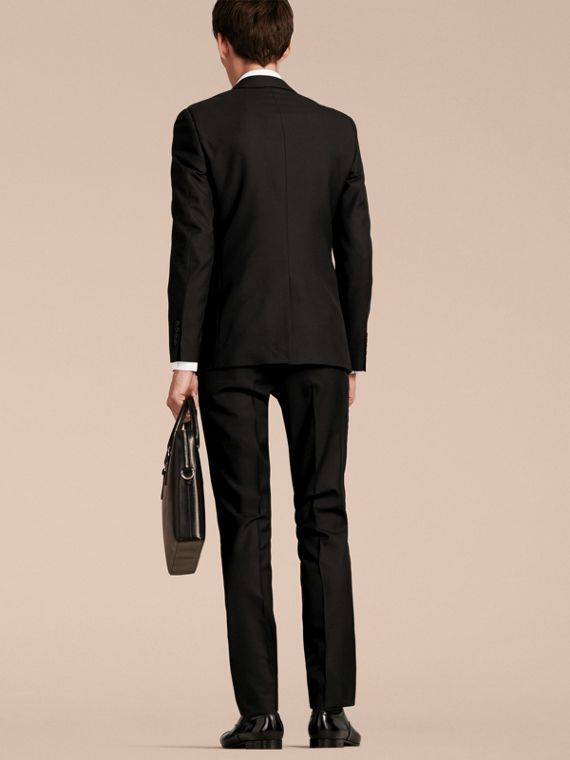 Slim Fit Wool Part-canvas Suit in Black - Men | Burberry Canada - cell image 2