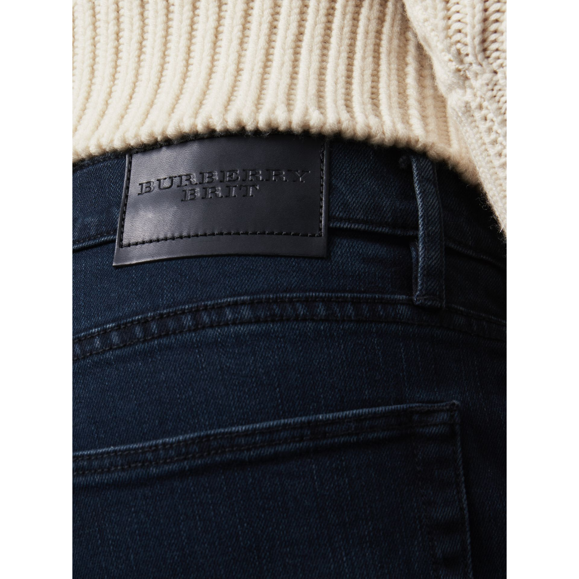 Straight Fit Stretch Denim Jeans in Dark Indigo - Men | Burberry - gallery image 1