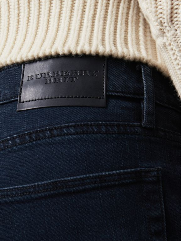 Straight Fit Stretch Denim Jeans in Dark Indigo - Men | Burberry Australia - cell image 1