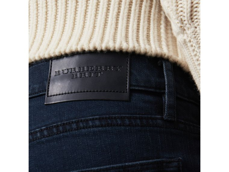 Straight Fit Indigo Stretch Jeans in Dark - Men | Burberry United Kingdom - cell image 1