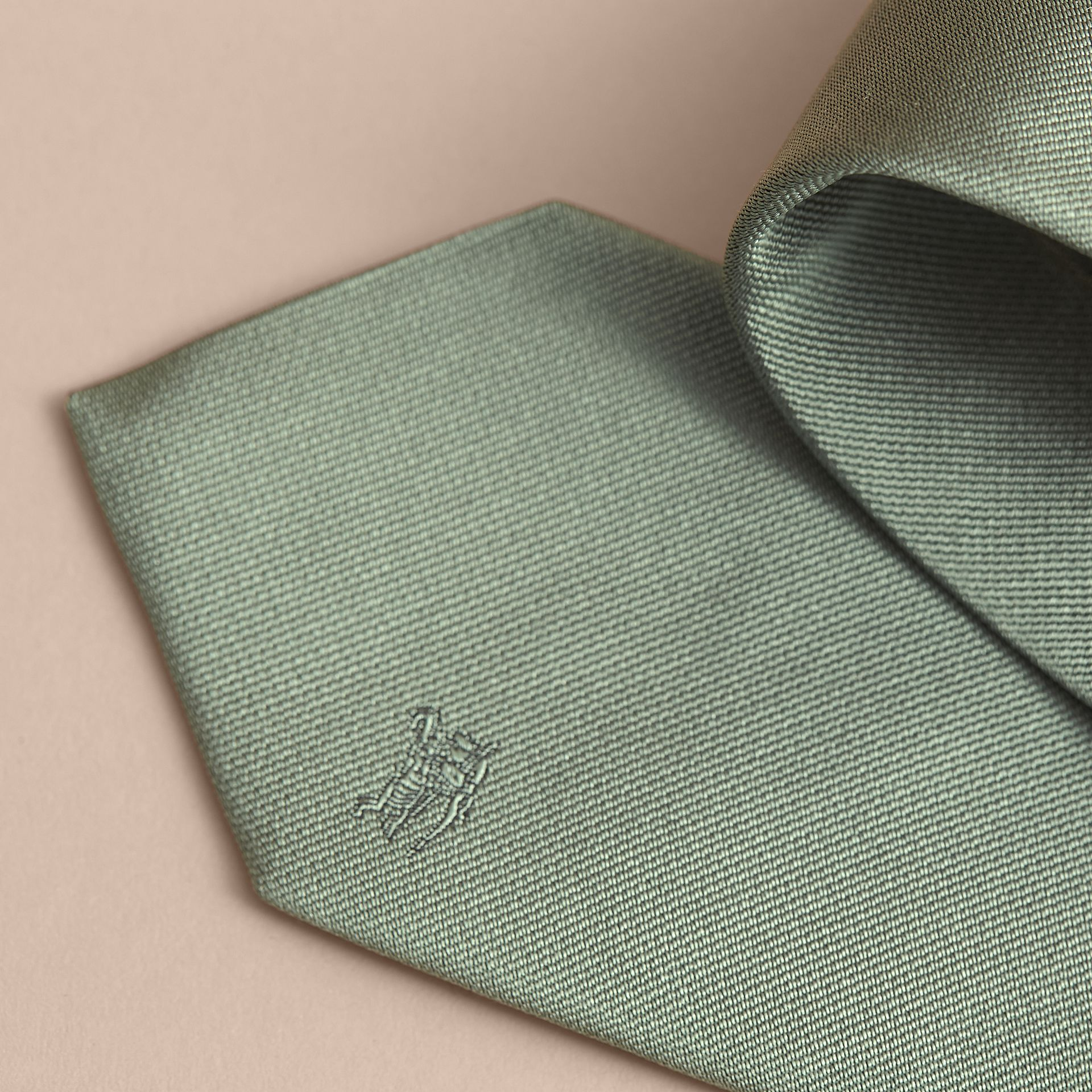 Modern Cut Silk Twill Tie in Eucalyptus Green - Men | Burberry Singapore - gallery image 2