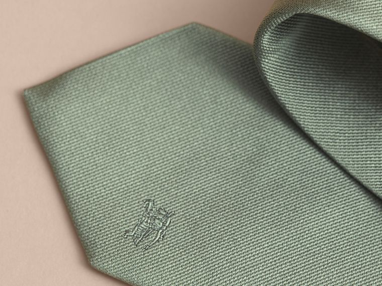 Modern Cut Silk Twill Tie in Eucalyptus Green - Men | Burberry Singapore - cell image 1