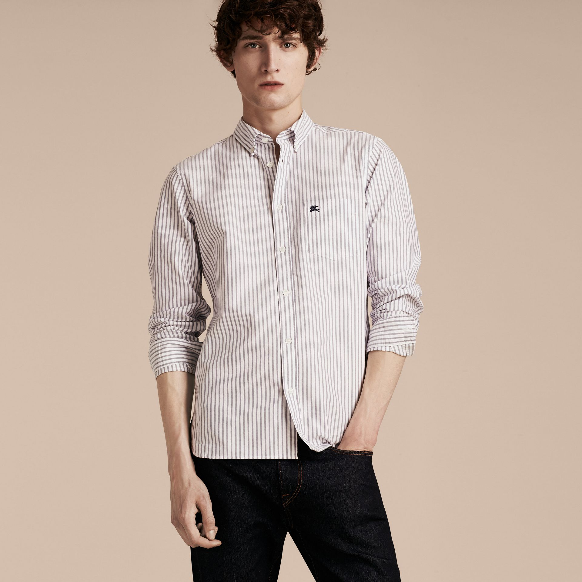 Button-down Collar Oxford Stripe Cotton Shirt in Navy - gallery image 6