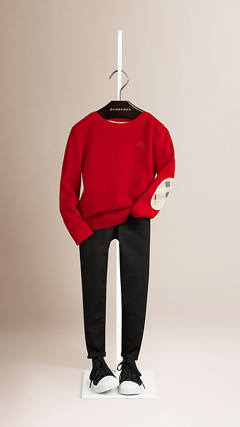 Military red Check Elbow Patch Cashmere Sweater - Image 1