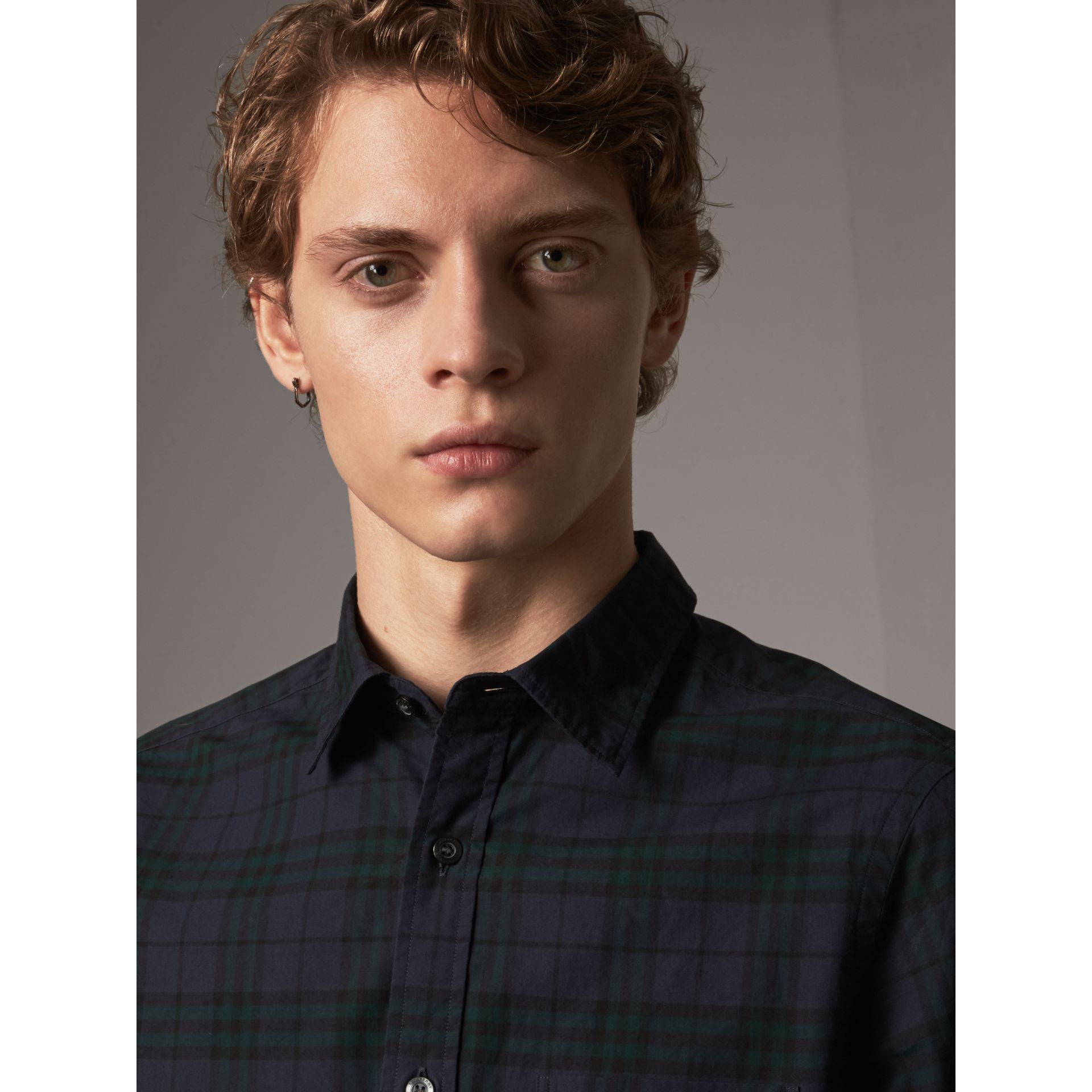 Check Cotton Shirt in Ink Blue - Men | Burberry - gallery image 1