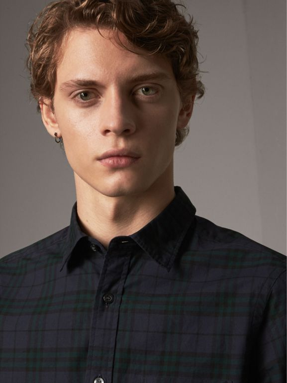 Check Cotton Shirt in Ink Blue - Men | Burberry - cell image 1