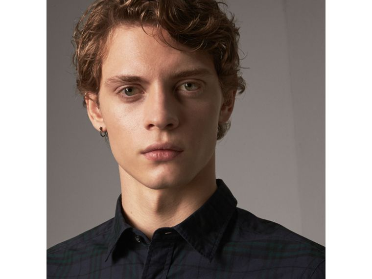 Check Cotton Shirt in Ink Blue - Men | Burberry Australia - cell image 1
