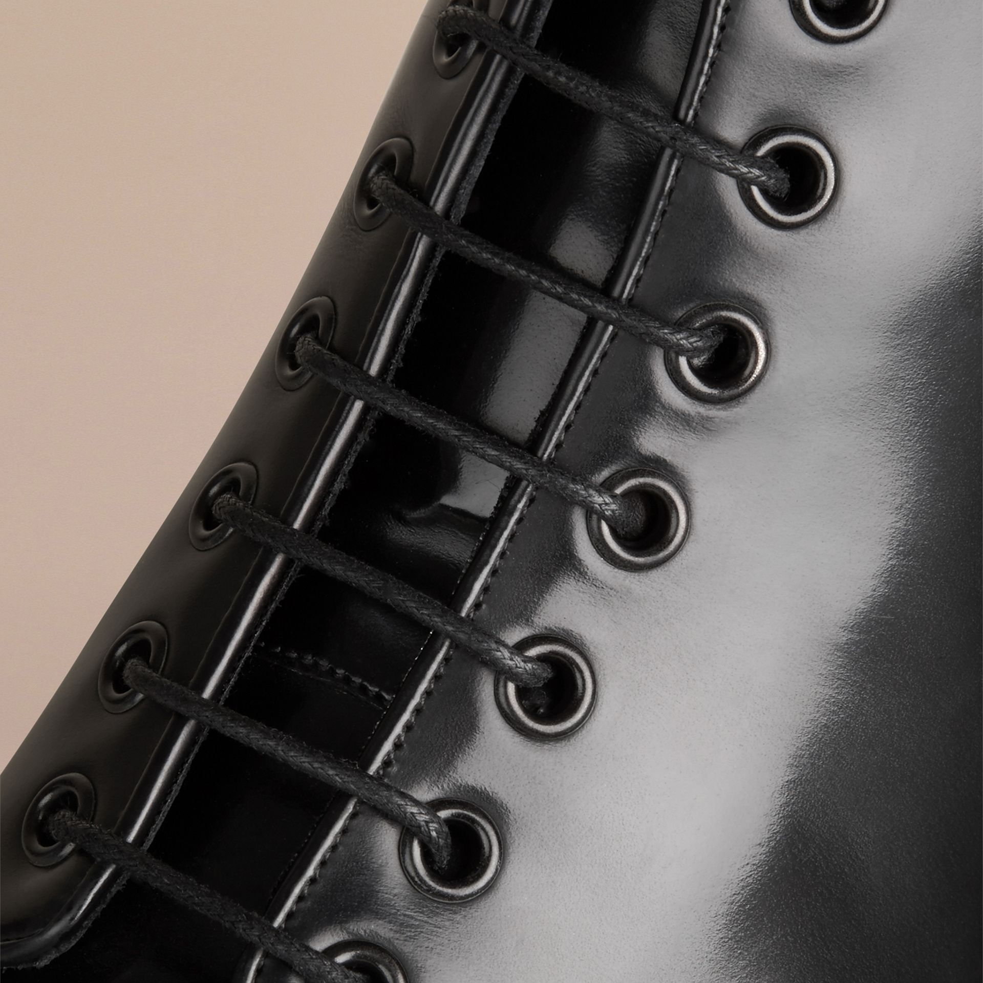 Black Lace-up Leather Boots Black - gallery image 2