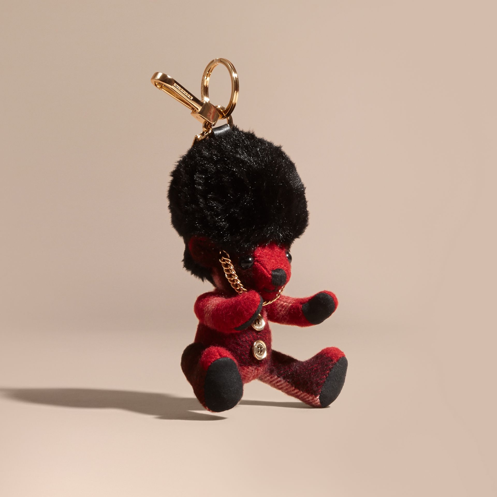 Parade red The Guardsman Thomas Bear Charm in Check Cashmere - gallery image 1
