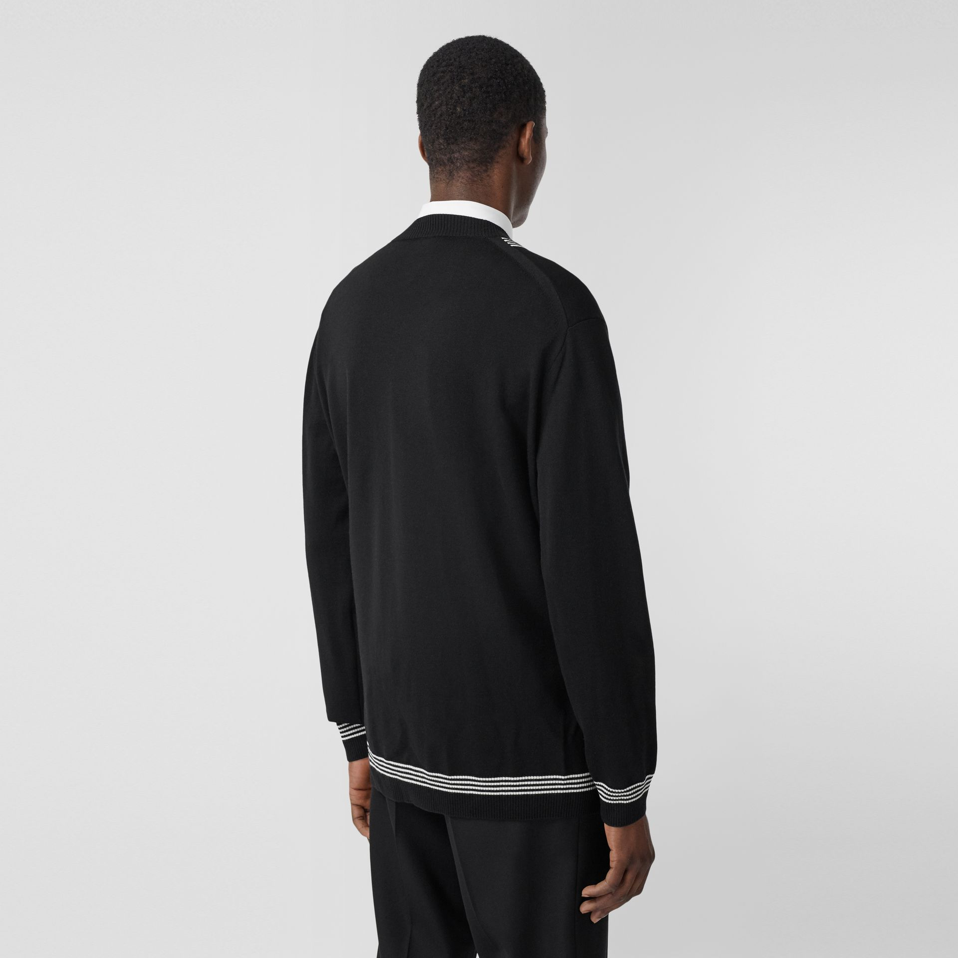 Stripe Detail Merino Wool Oversized Cardigan in Black - Men | Burberry - gallery image 2