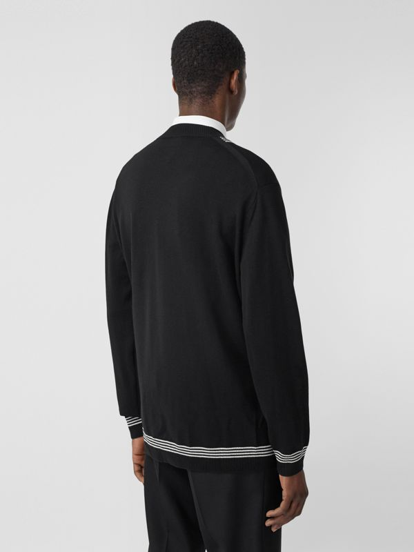 Stripe Detail Merino Wool Oversized Cardigan in Black - Men | Burberry - cell image 2