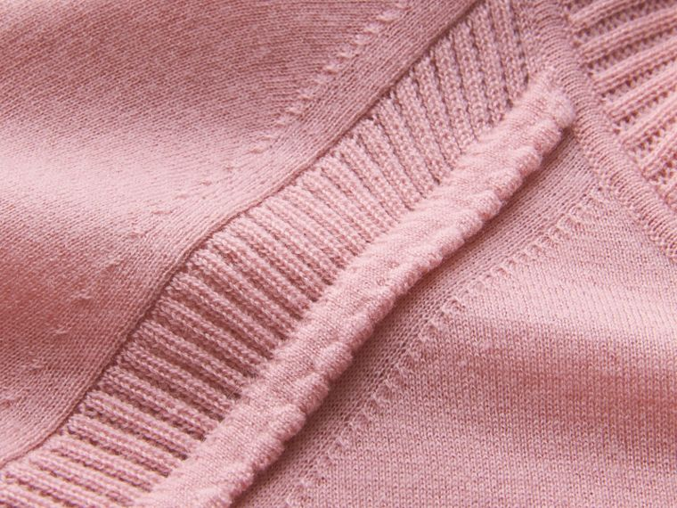Open-knit Detail Cashmere Cardigan in Apricot Pink - Women | Burberry - cell image 1