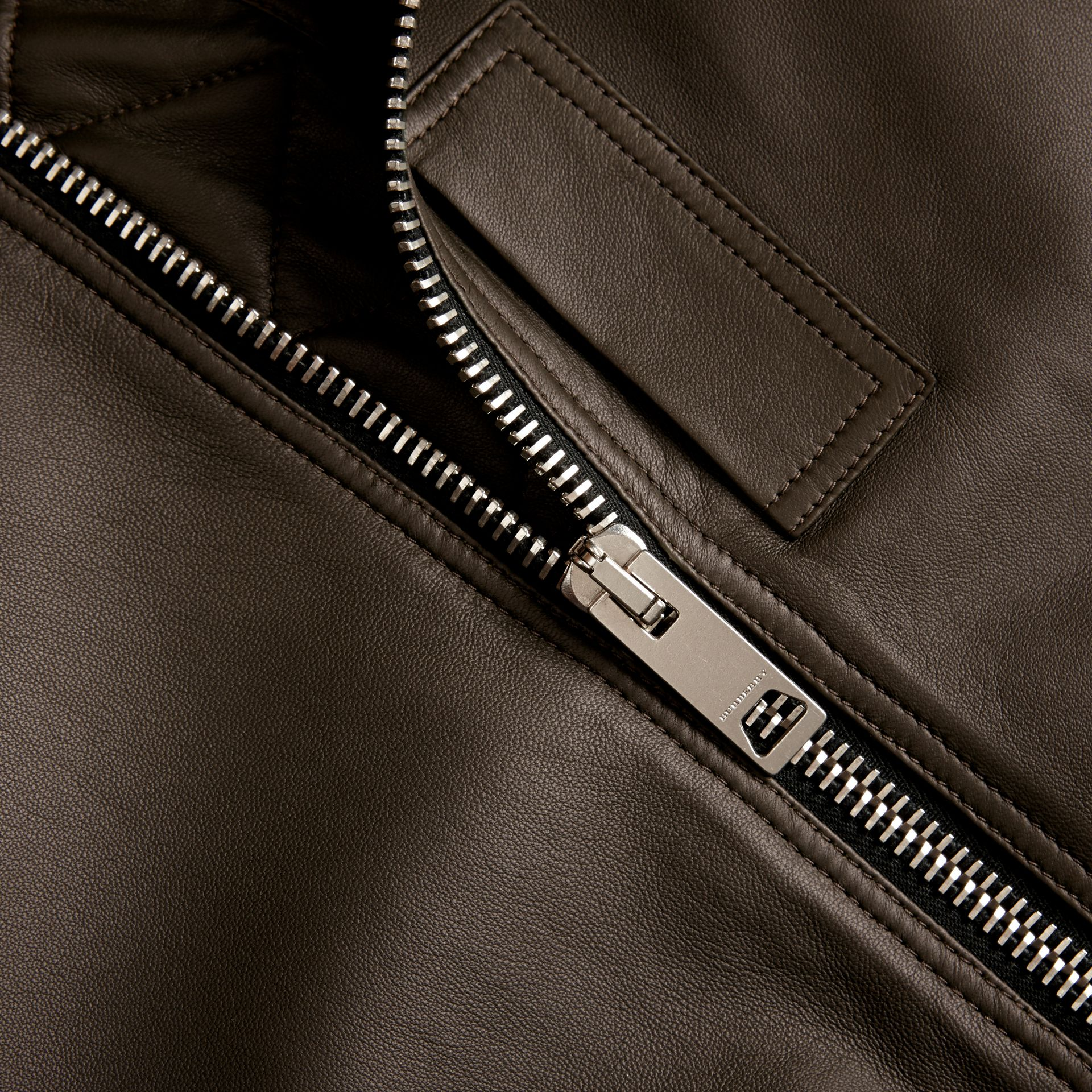 Lightweight Lambskin Bomber Jacket in Olive - gallery image 2