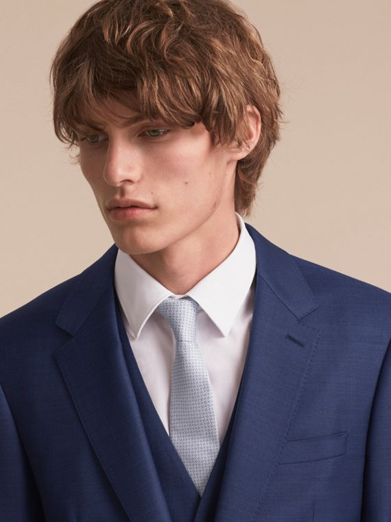 Modern Cut Graphic Puppy Tooth Print Silk Tie in Pale Blue - Men | Burberry Singapore - cell image 2