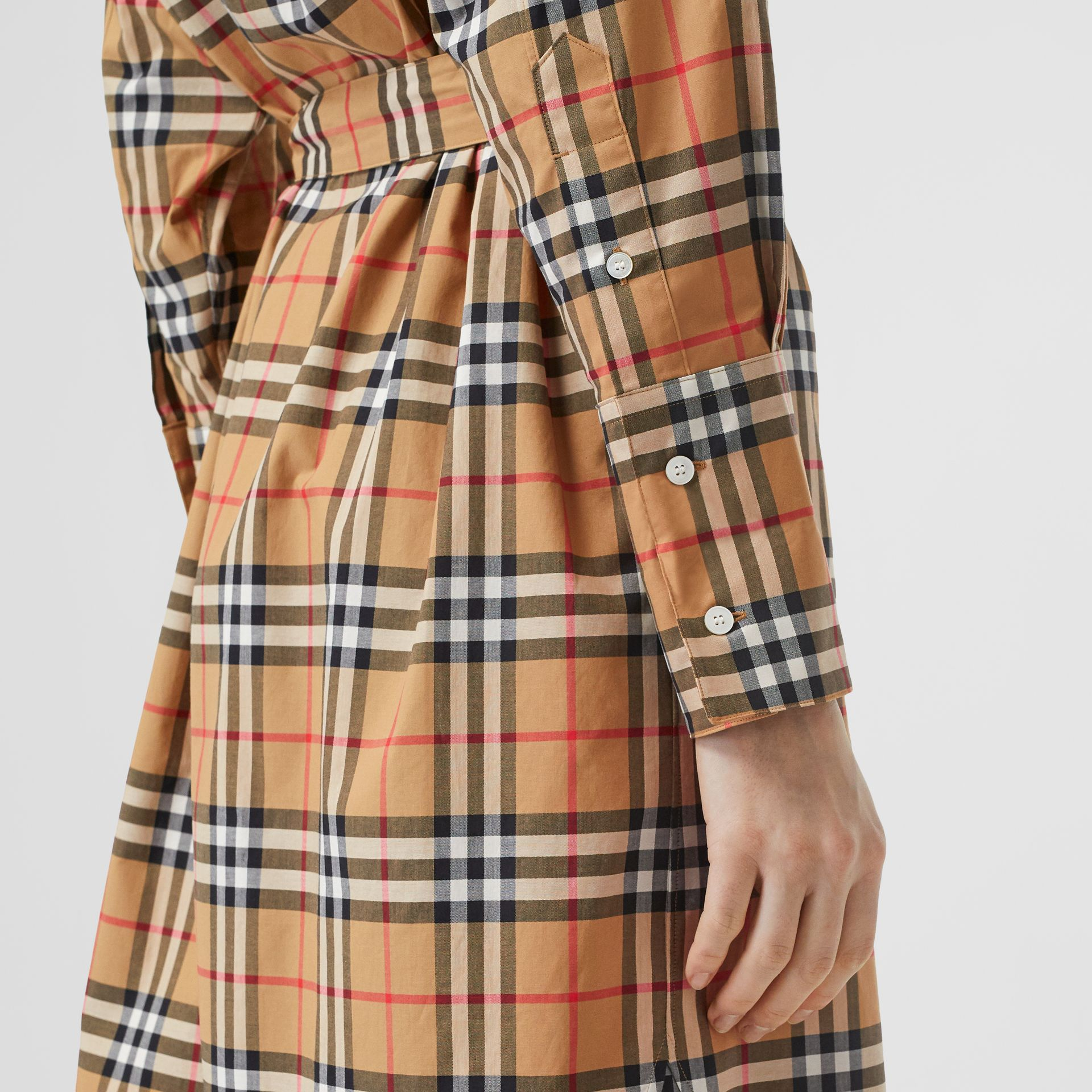 Vintage Check Cotton Tie-waist Shirt Dress in Antique Yellow - Women | Burberry United Kingdom - gallery image 4