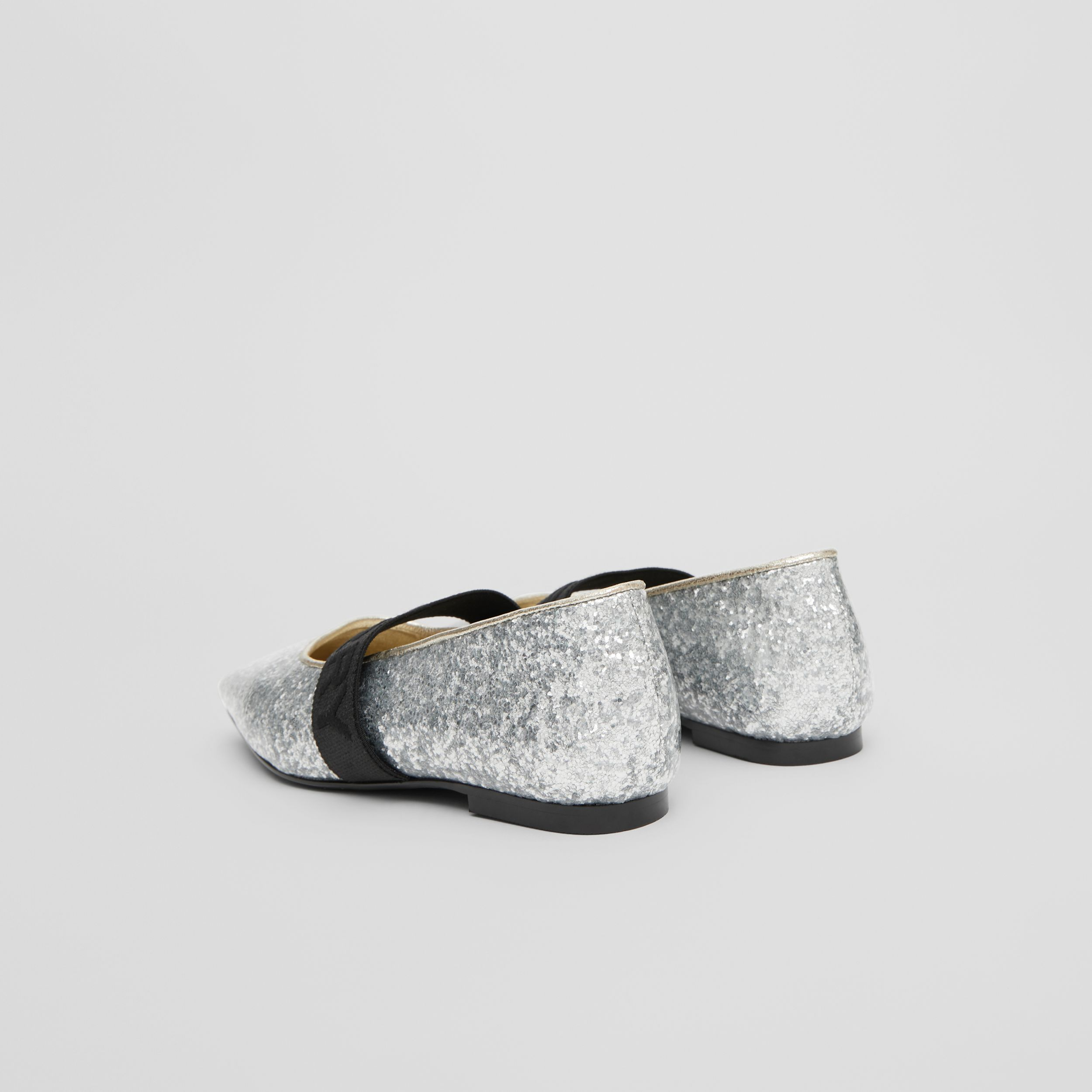 Logo Detail Glittery Flats in Silver - Children | Burberry - 3