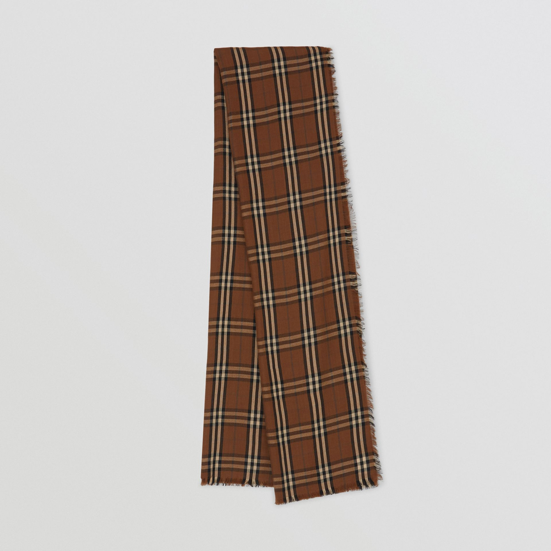 Vintage Check Lightweight Cashmere Scarf in Bridle Brown | Burberry Singapore - gallery image 0