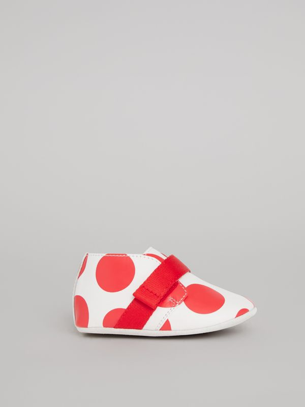 Spot Print Leather Shoes in Bright Red - Children | Burberry - cell image 3