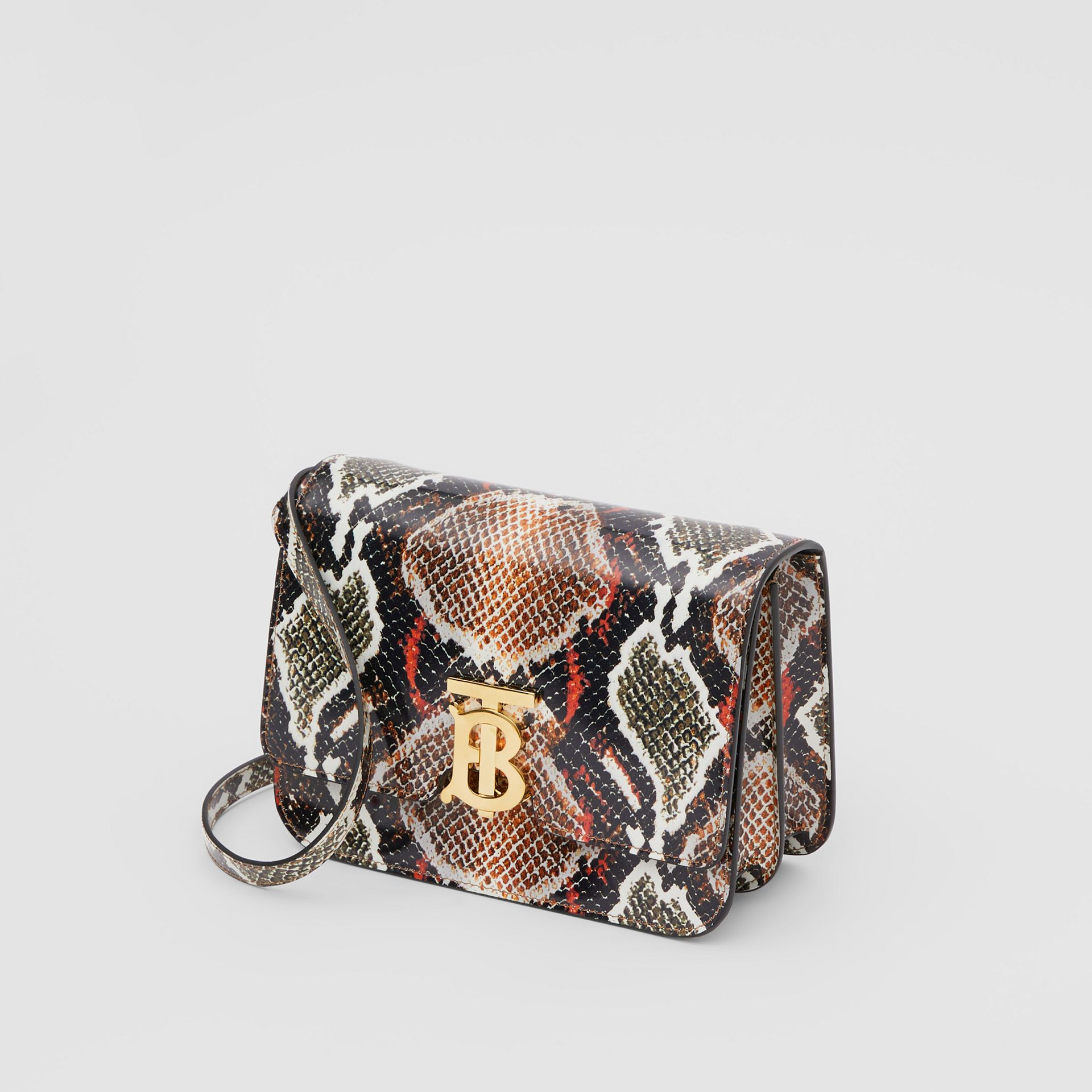 Small Python Print Leather TB Bag in Soft Cocoa - Women | Burberry - gallery image 2