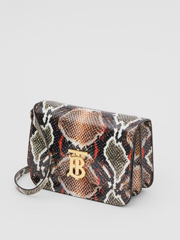 Small Python Print Leather TB Bag in Soft Cocoa - Women | Burberry - cell image 2