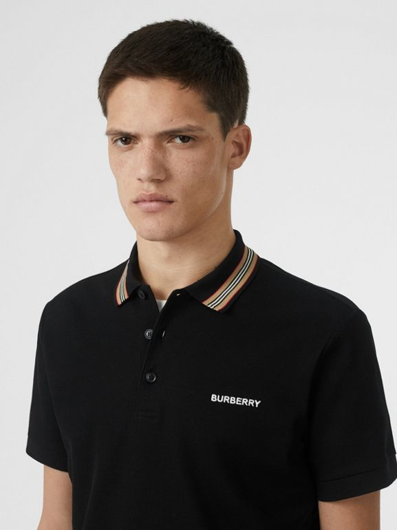 Icon Stripe Detail Cotton Piqué Polo Shirt in Black - Men | Burberry - cell image 1