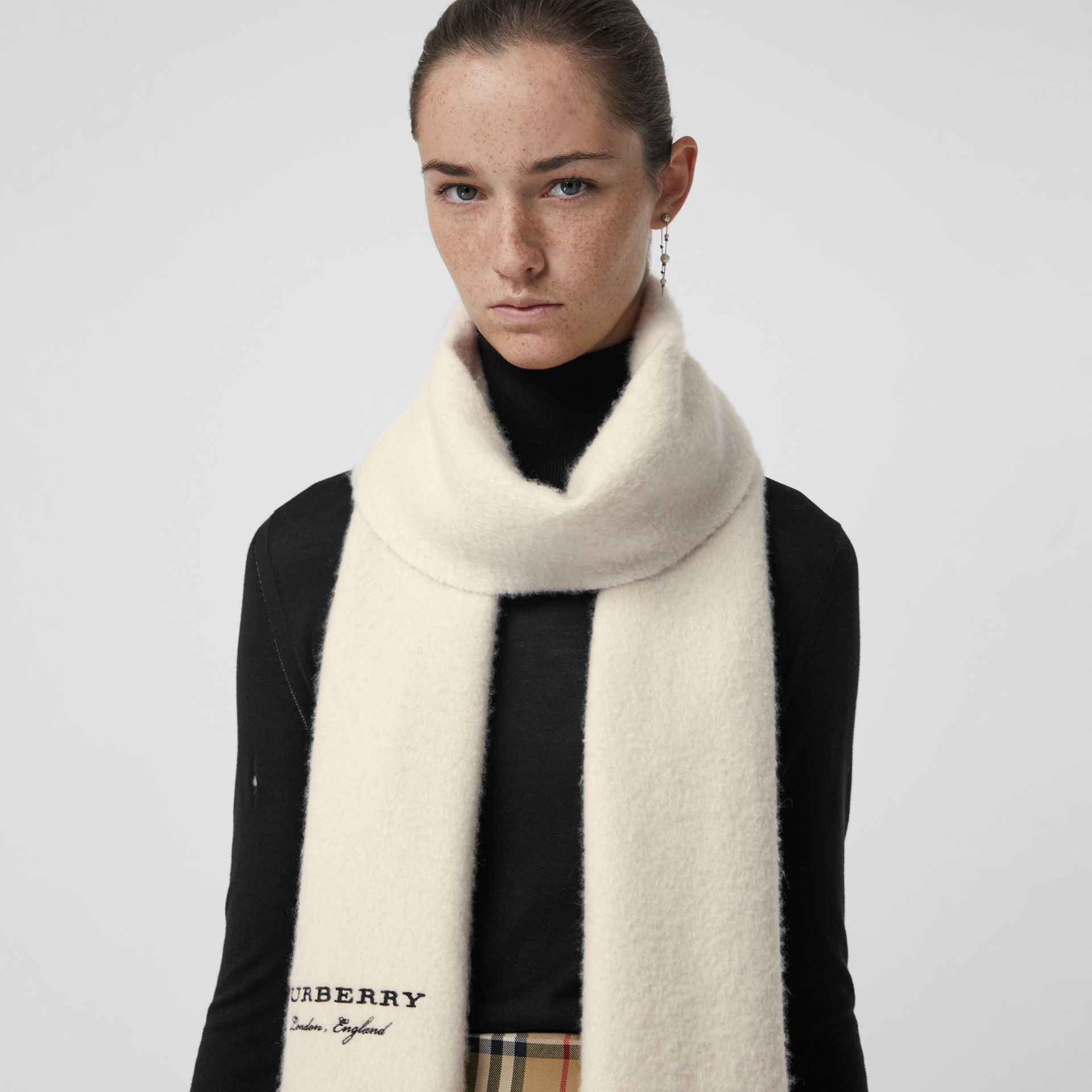 Embroidered Cashmere Fleece Scarf in Ivory | Burberry - gallery image 5