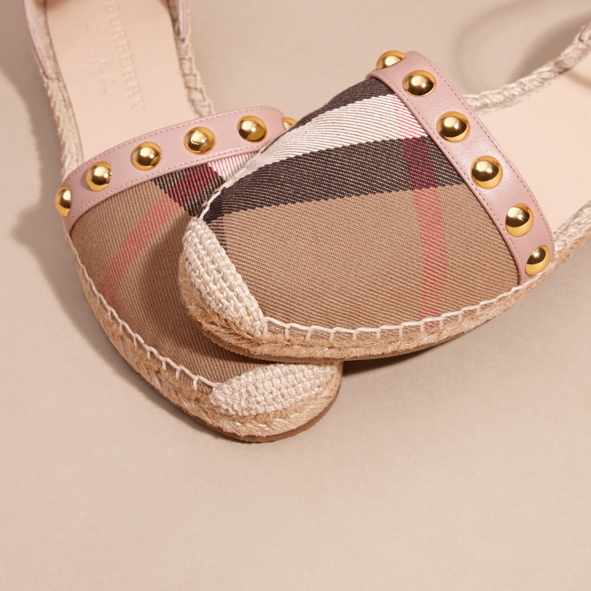Nude blush Studded Leather and House Check Espadrille Sandals Nude Blush - gallery image 2