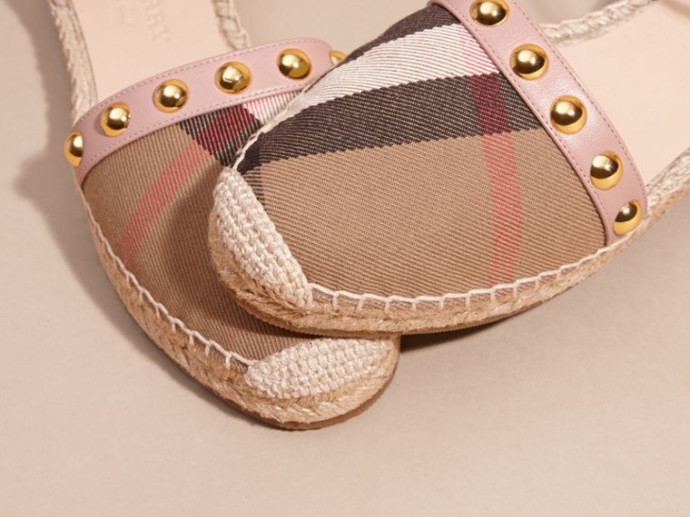 Nude blush Studded Leather and House Check Espadrille Sandals Nude Blush - cell image 1