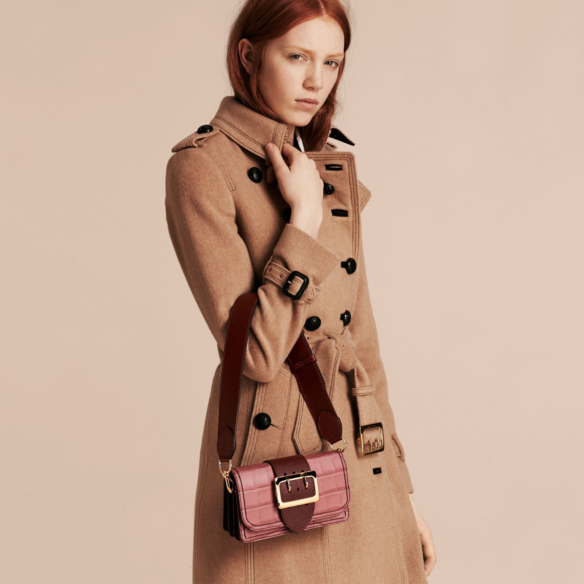 The Small Buckle Bag in Alligator and Leather in Dusky Pink/ Burgundy - Women | Burberry United Kingdom - gallery image 3