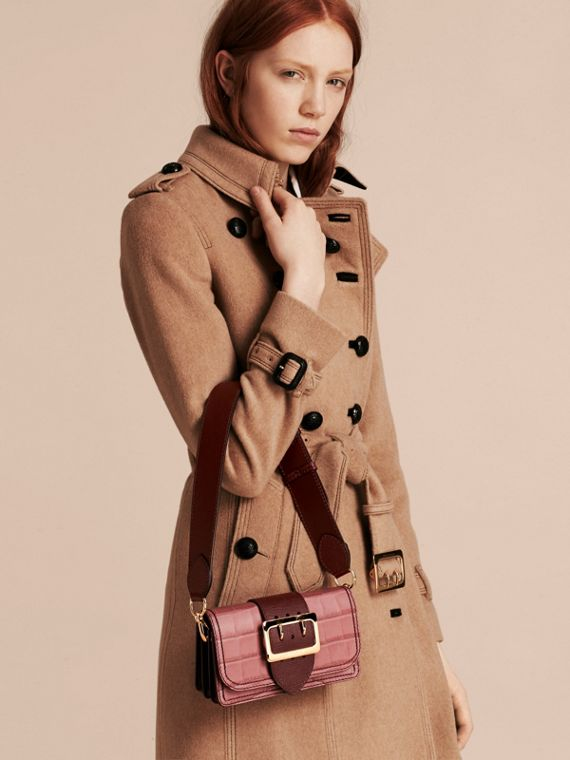 The Small Buckle Bag in Alligator and Leather in Dusky Pink/ Burgundy - Women | Burberry Australia - cell image 2