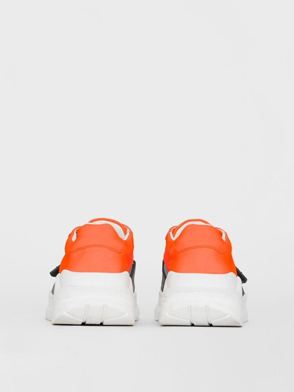 Colour Block Sneakers in Silver Grey/orange - Women | Burberry - cell image 3