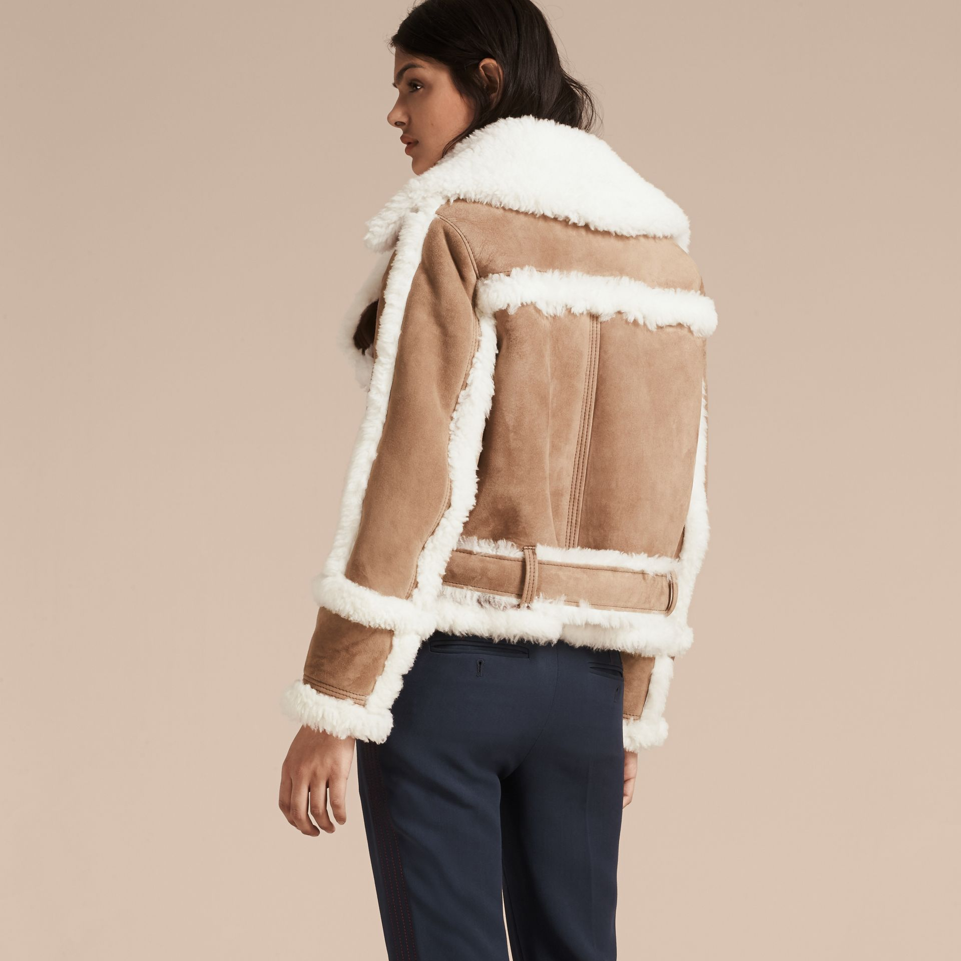 Camel Cropped Suede and Shearling Aviator Jacket - gallery image 3